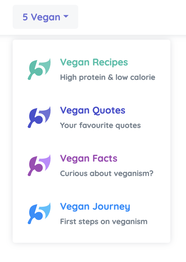 5 Vegan Sub categories